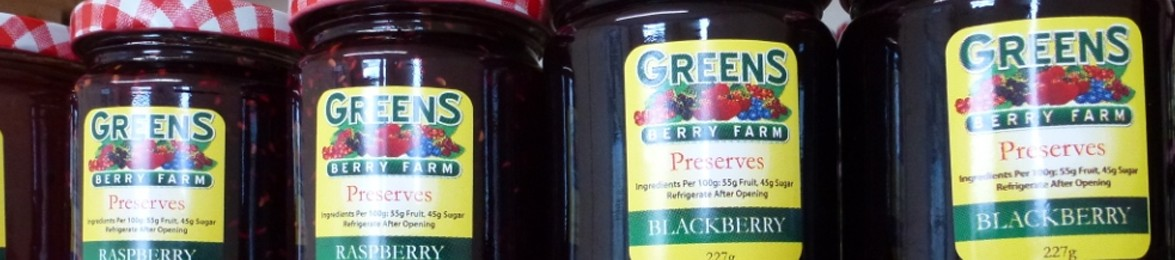 Jars of Greens Berry Preserves at our Fruit Farm Shops